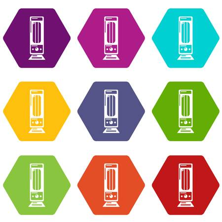 Oil heater icons 9 set coloful isolated on white for web Ilustração