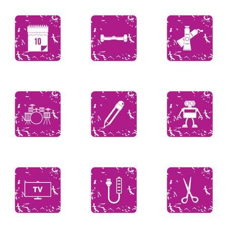 TV program icons set. Grunge set of 9 tv program vector icons for web isolated on white background