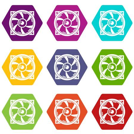 Thermal fan icons 9 set colorful isolated on white for web. Illustration