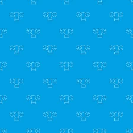 Hand wrench pattern vector seamless blue repeat for any use. Illustration