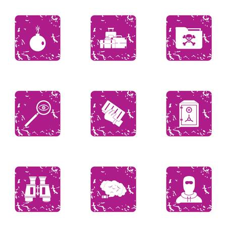 Theft icons set. Grunge set of 9 theft vector icons for web isolated on white background.