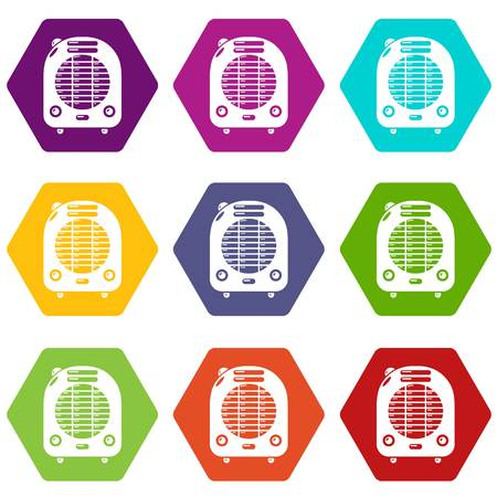 Heat blower icons in 9 colorful set. Illustration