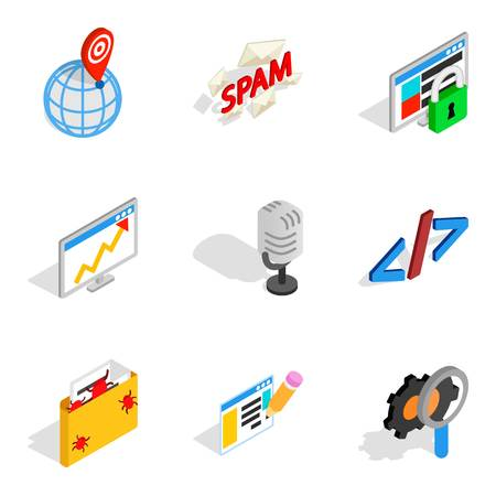 Isometric set of 9 online contemporary vector icons for web isolated on white background