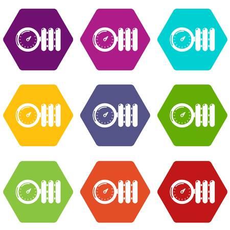 Manometer icons 9 set colorful isolated on white for web. Illustration