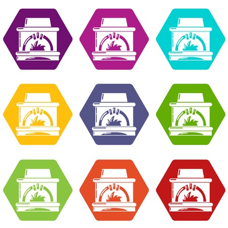 Blast furnace icons 9 set colorful isolated on white for web.