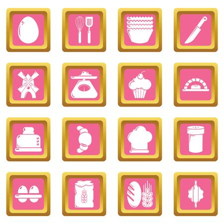 Bakery icons set vector pink square isolated on white background.