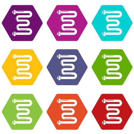 Coil battery icons 9 set colorful isolated on white for web. Illustration