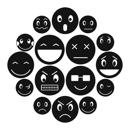 Emoticon icons set in simple style for any design.