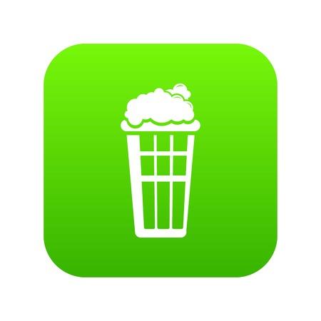 Popcorn box icon green vector isolated on white background. Çizim