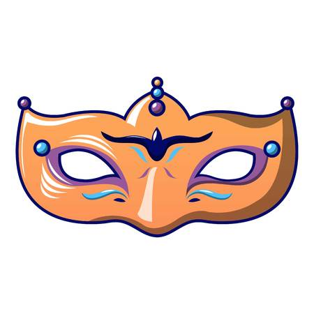 Orange carnival mask icon. Cartoon of orange carnival mask vector icon for web design isolated on white background. Illustration
