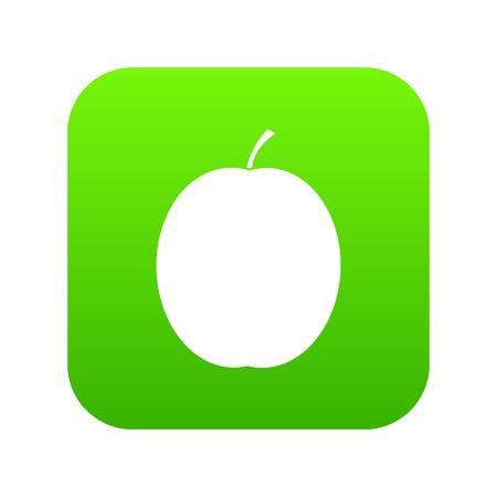 Fresh apricot icon on digital green square