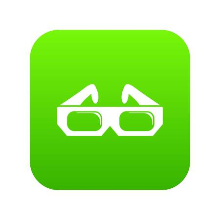3d glasses icon on green square