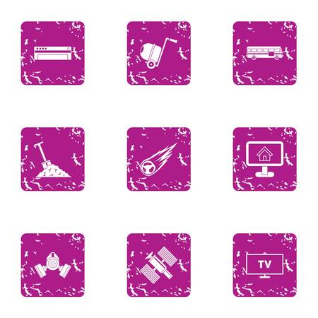 Grunge set of 9 business surveillance vector icons for web isolated on white background Illustration