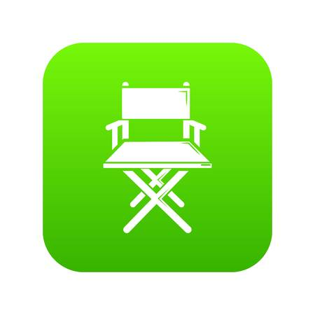 Director's chair icon on green square. Illustration