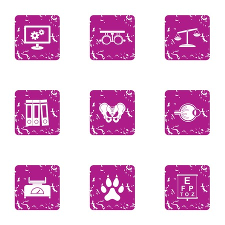 Grunge set of 9 medical case vector icons for web isolated on white background Illustration