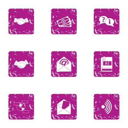 Surety icons set. Grunge set of 9 surety vector icons for web isolated on white background