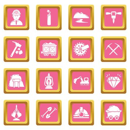 Mining minerals business icons set vector pink square isolated on white background