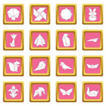Origami icons set vector pink square isolated on white background Ilustracja
