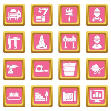 Building process icons set vector pink square isolated on white background