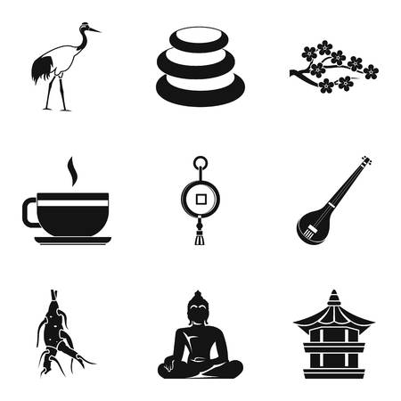 Spiritual icons set. Simple set of 9 spiritual vector icons for web isolated on white background
