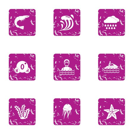 Weather in the sea icons set. Grunge set of 9 weather in the sea vector icons for web isolated on white background