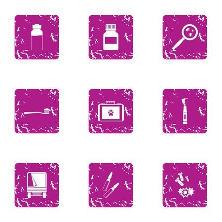 Devastation icons set. Grunge set of 9 devastation vector icons for web isolated on white background