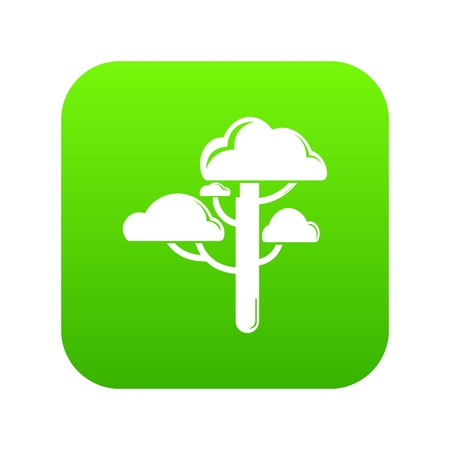 Cloud tree icon green vector isolated on white background