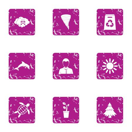 Suburbia icons set. Grunge set of 9 suburbia vector icons for web isolated on white background