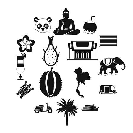 Costa Rica icons set in simple ctyle. Republic of Costa Rica set collection vector illustration