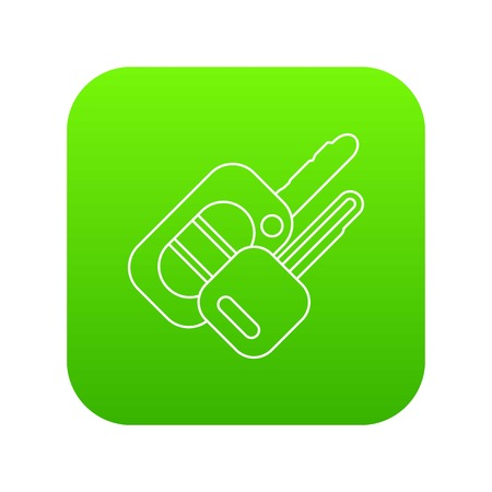 Auto key icon green vector isolated on white background Illustration