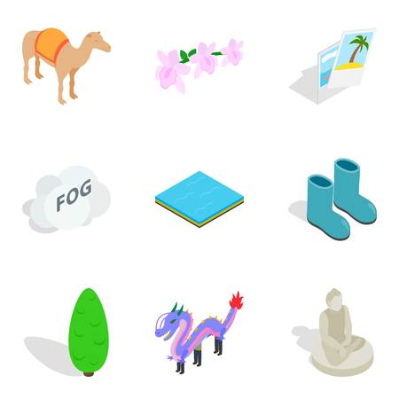 Zoological garden icons set. Isometric set of 9 zoological garden vector icons for web isolated on white background