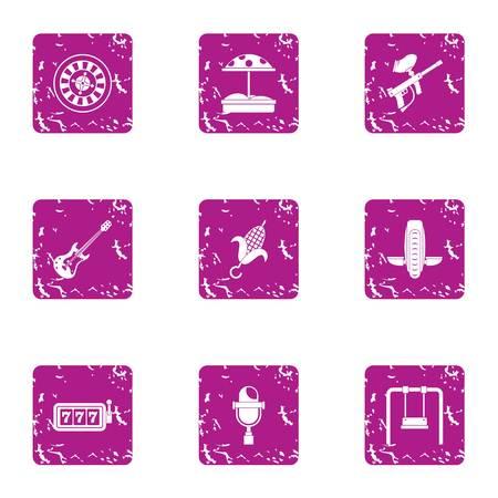 Hobby boy icons set. Grunge set of 9 hobby boy vector icons for web isolated on white background