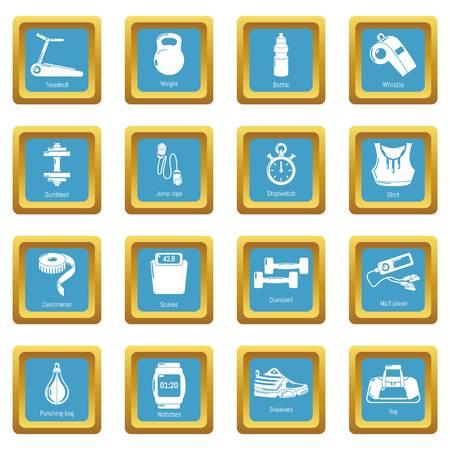 Gym sport icons set vector sapphirine square isolated on white background  Ilustração