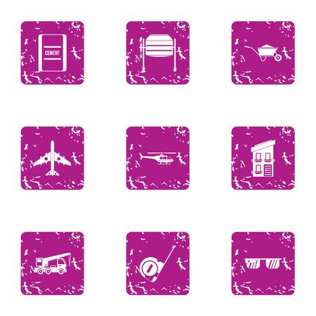 Create icons set. Grunge set of 9 create vector icons for web isolated on white background