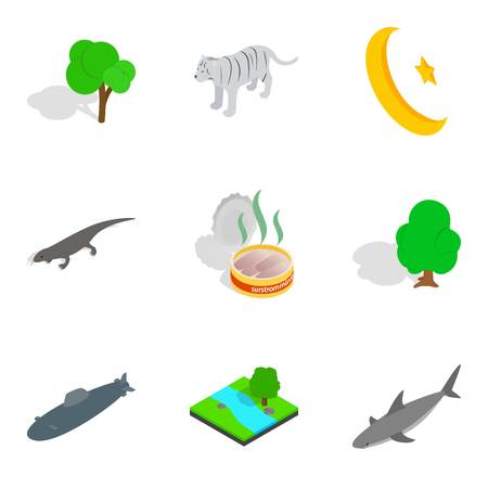 Animal place icons set. Isometric set of 9 animal place vector icons for web isolated on white background