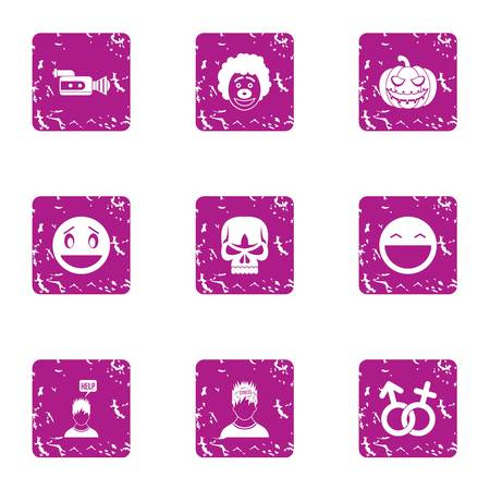 Personal choice icons set. Grunge set of 9 personal choice vector icons for web isolated on white background