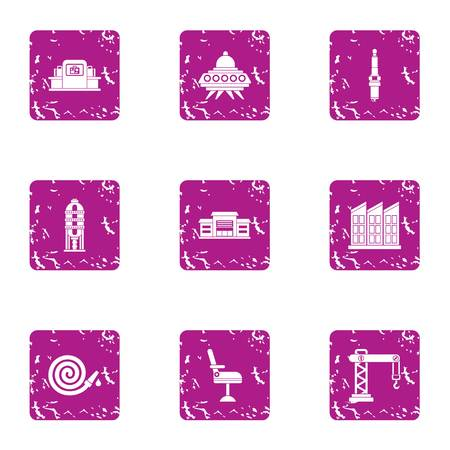 Fast construction icons set. Grunge set of 9 fast construction vector icons for web isolated on white background Illustration