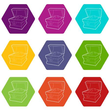 Chest of gold icons 9 set coloful isolated on white for web