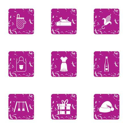 Woman in kitchen icons set. Grunge set of 9 woman in kitchen vector icons for web isolated on white background