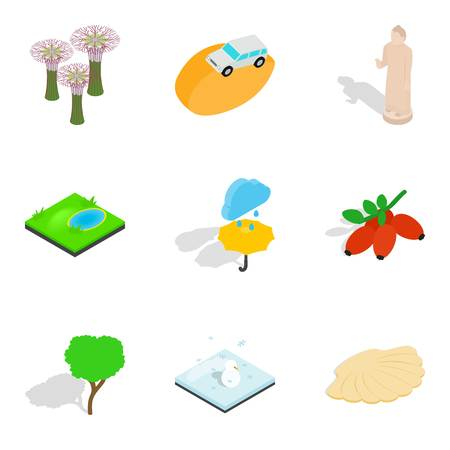Animal garden icons set. Isometric set of 9 animal garden vector icons for web isolated on white background