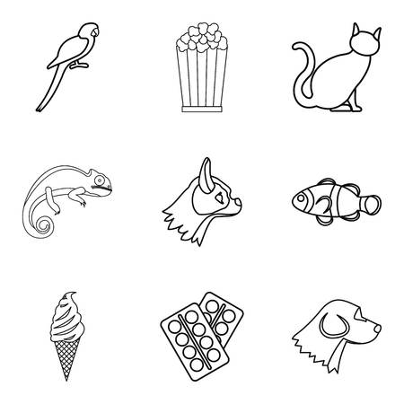 Water animal icons set. Outline set of 9 water animal vector icons for web isolated on white background