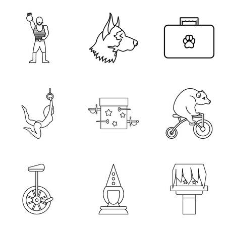 Funny zoo icons set. Outline set of 9 funny zoo vector icons for web isolated on white background