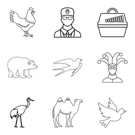 Treat animal icons set. Outline set of 9 treat animal vector icons for web isolated on white background