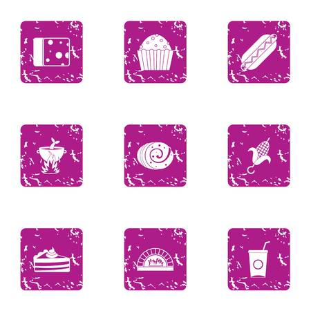 Prepare eat icons set. Grunge set of 9 prepare eat vector icons for web isolated on white background Standard-Bild - 100777997