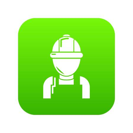 Man mechanic icon green vector isolated on white background