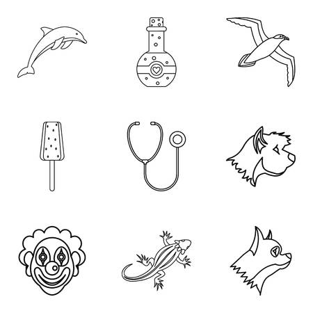 Water zoo icons set. Outline set of 9 water zoo vector icons for web isolated on white background