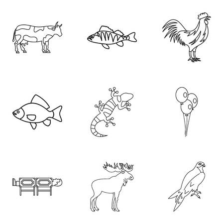 Zoo treat icons set. Outline set of 9 zoo treat vector icons for web isolated on white background