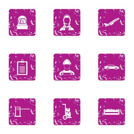 Working masses icons set. Grunge set of 9 working masses vector icons for web isolated on white background