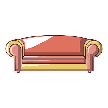 Red sofa icon. Cartoon of red sofa vector icon for web design isolated on white background
