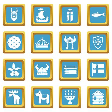 Sweden travel icons set vector sapphirine square isolated on white background